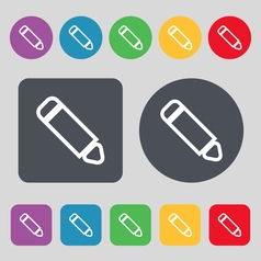 Pen icon sign a set of 12 colored buttons flat vector