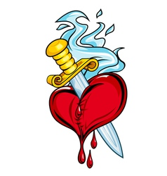 Heart with dagger vector