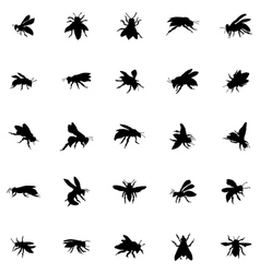 Bee silhouettes set vector