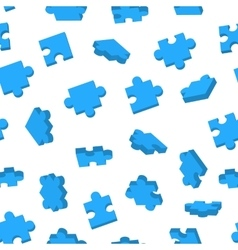 Blue jigsaw pieces in different positions on white vector