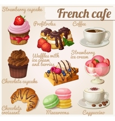 Set of food icons french cafe chocolate cupcake vector
