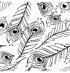 Seamless graphic pattern of peacock feathers vector