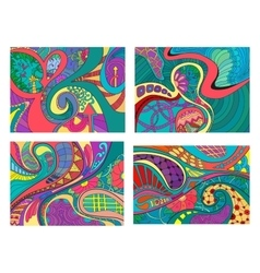 Set of four abstract background with lines wave vector