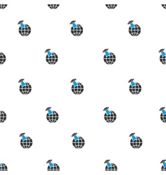 Alien visit earth flat seamless pattern vector