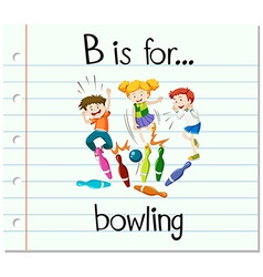 Flashcard letter b is for bowling vector