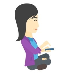 Woman using mobile phone vector