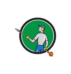 Gardener hedge trimmer circle cartoon vector