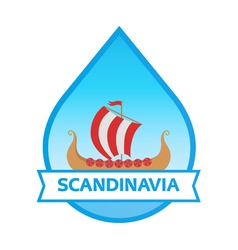Travel to scandinavia - emblem with drakkar vector
