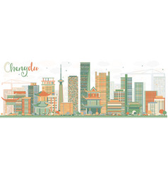 Abstract chengdu skyline with color buildings vector