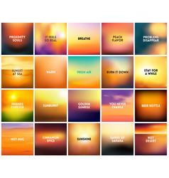 Big set of 20 square blurred nature golden orange vector