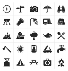 Black Camping and tourism icons vector image vector image