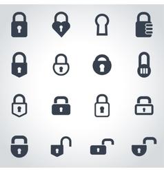 black locks icon set vector image vector image