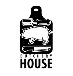 Butchery house logotype with pig outline and vector