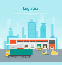 cartoon warehouse distribution logistics card vector image vector image