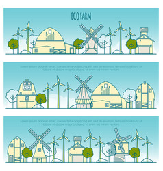 ecology farm banners template with thin vector image