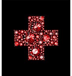 Gem red cross vector