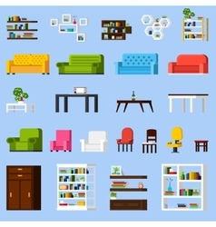 Interior Elements Orthogonal Icon Set vector image