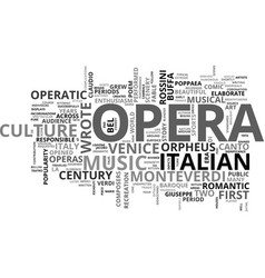 Italy the mother of opera text background word vector