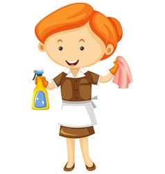 Maid with cleaning cloth and spray bottle vector image
