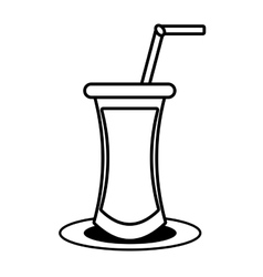 outline cocktail drink beverage with straw vector image
