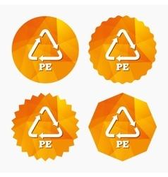PE Polyethylene sign icon Recycling symbol vector image
