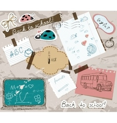 Scrapbooking set with school elements vector