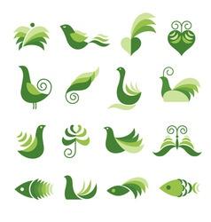 set of green design elements vector image vector image