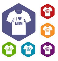 Shirt with print icons set hexagon vector