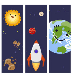 Space landing planets spaceship cards design vector