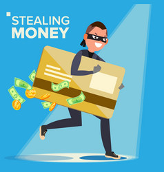 Thief character hacker stealing sensitive vector