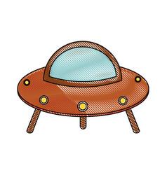 ufo spaceship cartoon vector image vector image