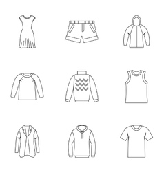 Underwear icons set outline style vector