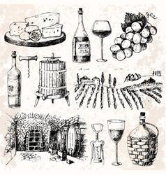 Vintage winery wine production handmade draft vector