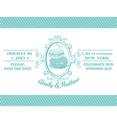 Wedding vintage invitation - macaroon theme vector