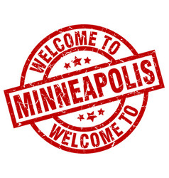 Welcome to minneapolis red stamp vector