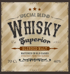 Whisky label for bottle vector