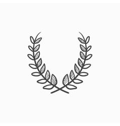 Laurel wreath sketch icon vector