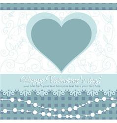 Cute Valentines Day heart floral invitation postca vector image