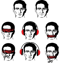 Mans face in different versions vector
