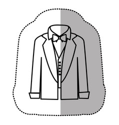 contour sticker shirt with bow tie and coat icon vector image