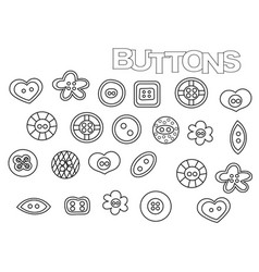 Hand drawn sewing buttons set coloring book page vector