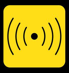 Yellow black sign - sound vibration symbol icon vector