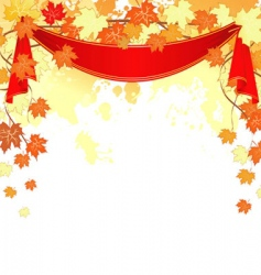 Autumn back splash ribbon vector