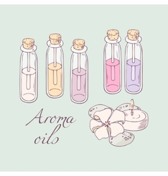 Aromatherapy oils for spa hand drawn vector