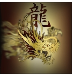 Golden chinese dragon closeup vector