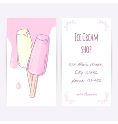 Business card template with hand drawn fruity ice vector