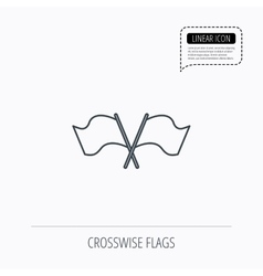 Crosswise waving flag icon location pointer vector