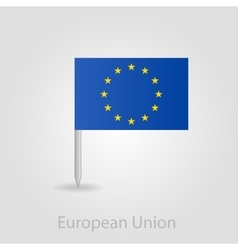 European union flag pin map icon vector