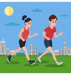 Man and woman running in the megapolis vector