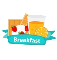 Breakfast cereal oatmeal and orange juice icon in vector